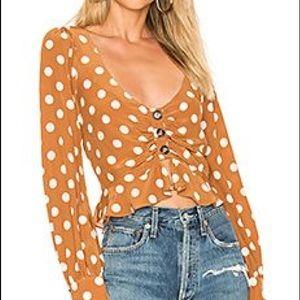 NWT for love and lemons Isabella polka dot top s
